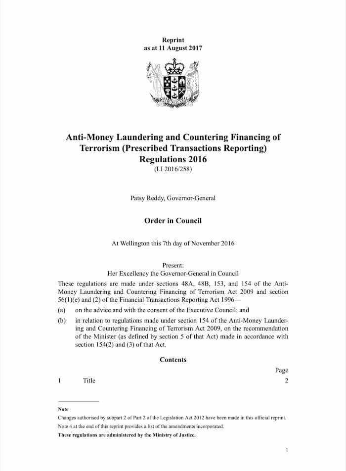 Anti-Money Laundering and Countering Financing of Terrorism (Prescribed Transactions Reporting) Regulations (2016)