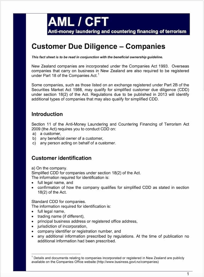 Customer Due Diligence Companies Fact Sheet