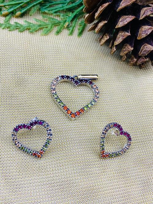Conjunto Corazón en Circón Natural Artesanado en Plata 925 y ensambles en oro de