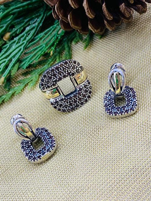 Conjunto en Piedra Preciosa Ópalo Natural en Plata 925 y ensambles en oro  14k