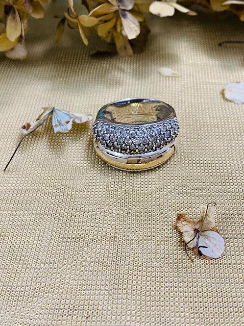Anillos de Diseñador, de Plata y Oro 14K con Piedra Circonia Natural