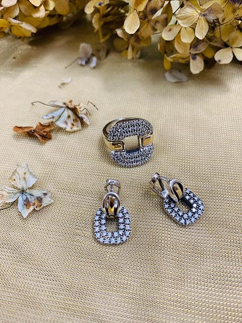 Conjunto de Plata y Ensambles de oro puro de 14k, con Piedra Circonia Natural