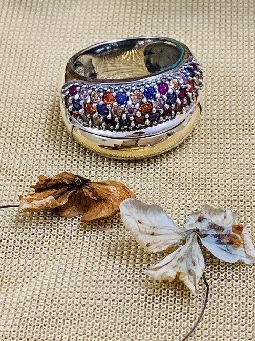 Anillo de Diseñador, de Plata y Oro 14K con Piedra Circonia Natural