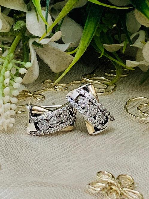 Aretes de Diseñador, de Plata y Oro 14K con Piedra Circonia Natural