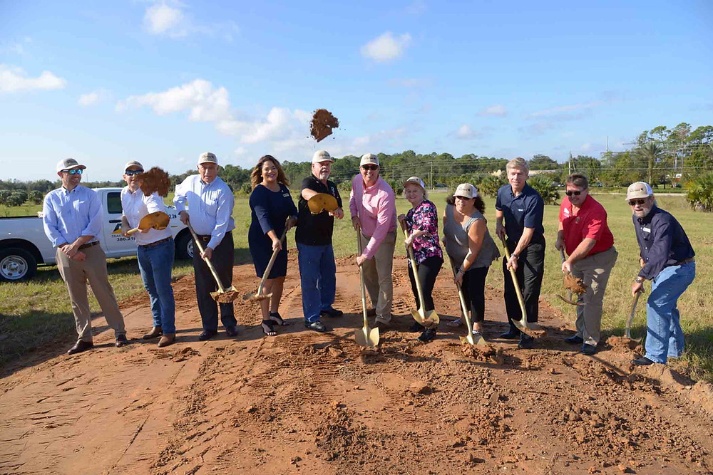 (LtoR) Ted Lightman, Principal CWP; West Costa, investor; Charles Lichtigman, Chairman CWP; Erica Benfield DeBary City Council; Mayor Bob Garcia; Steve Costa, Principal CWP; Mayor-Elect Karen Chasez; Phyllis Butlien DeBary City Council Member, David McDaniel, CEO Integra; Jeff Allebach City of Orange City; Bill Crippin City of Orange City