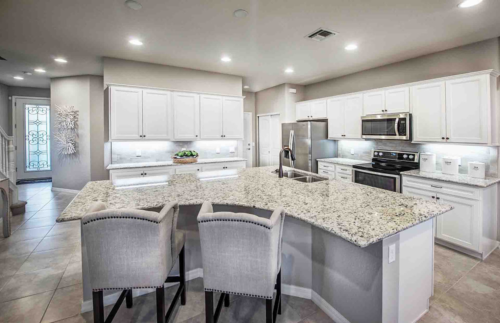 Spacious kitchen of Pulte's Leland model in Hammock Cove Townhomes