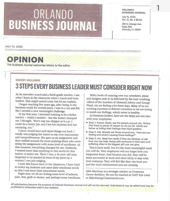 Orlando Business Journal Guest Column