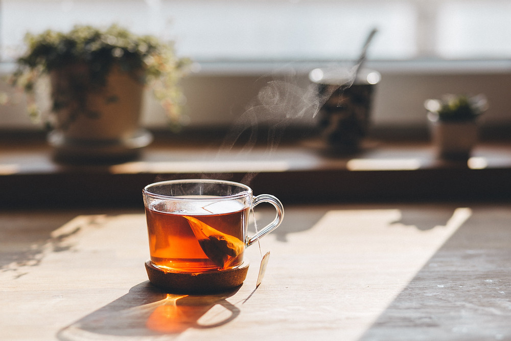 cup of tea in sunlight
