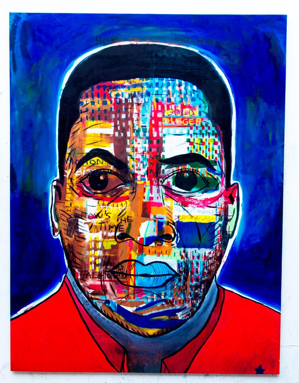Oil, Oil Stick, Spray Paint on Canvas -200cm x 150cm / 79inch x 59inch