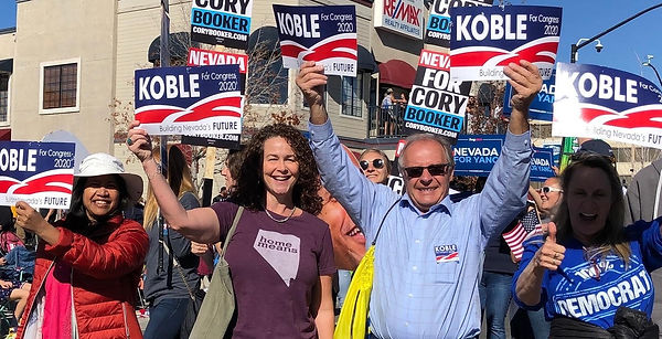 Clint Koble rallying with supporters