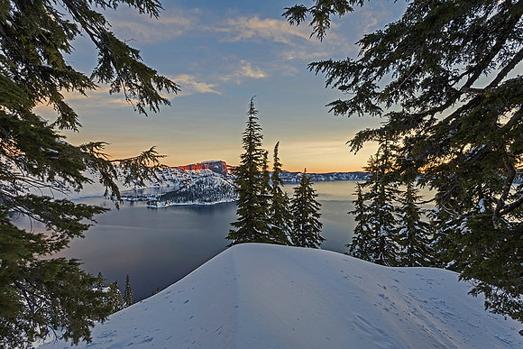 Crater Lake Sunrise Forest