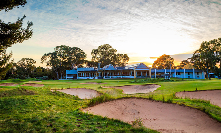 Approaching the tricky Par 4 18th hole from the rough at Kooyonga Golf Club. Picture: David Brand.