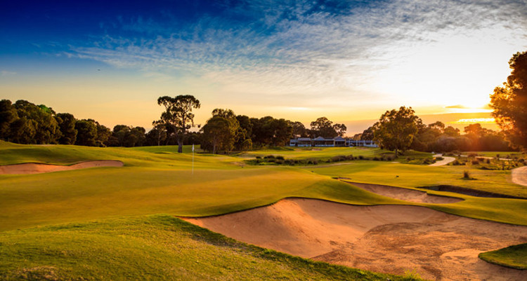 Behind the green at the Par 3 14th hole at Kooyonga Golf Club. Picture: David Brand.