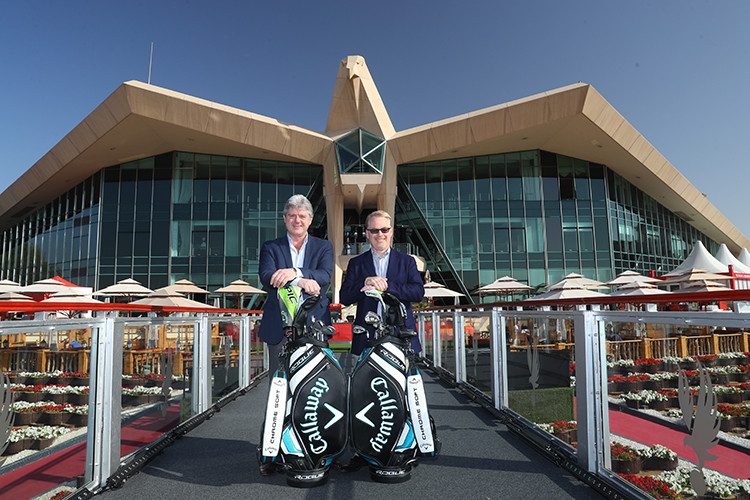 Neil Howie, President and Managing Director, Callaway Golf EMEA and Keith Pelley, Chief Executive, European Tour confirm Callaway as Official Partner to the European Tour for five years. Photo Credit: Getty Images