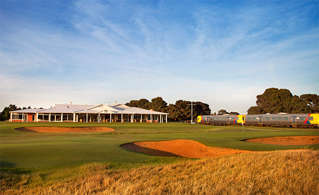 A unique feature of the Royal Adelaide course is the suburban train line that runs behind the 18th green and between the 1st and 2nd fairways. Picture: David Scaletti.