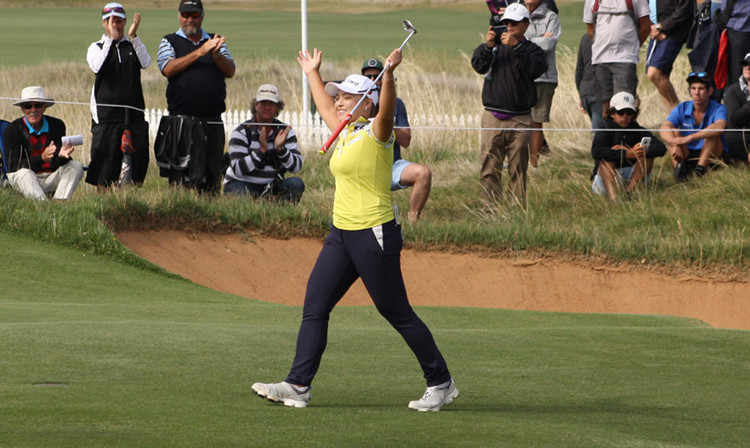Ha Na Jang Celebrating her 2017 ISPS Handa Women's Australian Open victory at Royal Adelaide.