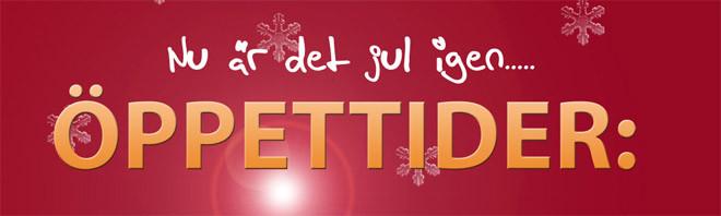 öppettider under Jul och Nyåret
