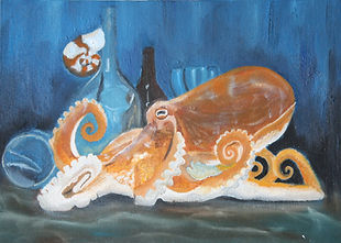 Octopus with Bottle and Glasses