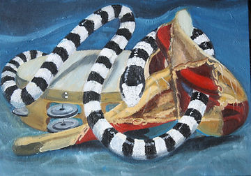Sea Snake with Tambourine and Mask