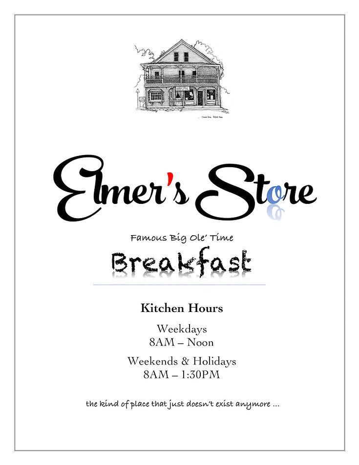 Elmers Breakfast Menu SUMMER 2019 Page 1