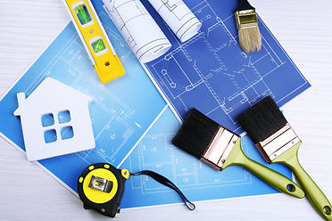 Construction instruments, plan and brush