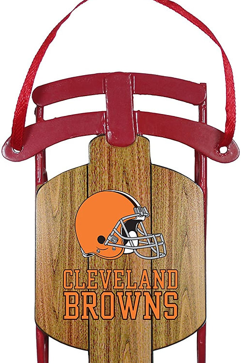 Browns Metal Sled Ornament
