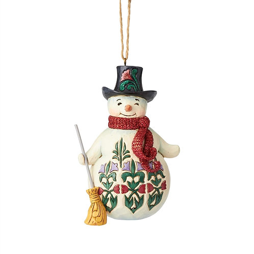 Winter Wonderland Snowman with Broom Ornament