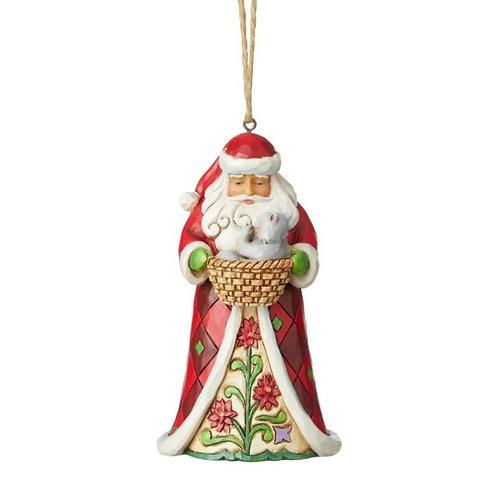 Santa With Kitten Ornament