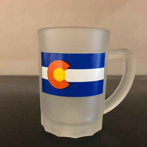 White Frosted Shot Glass with handle ..... featuring the Colorado State Flag