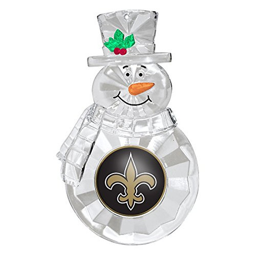 Saints Acylic Snowman - Cut Crystal Design Ornament