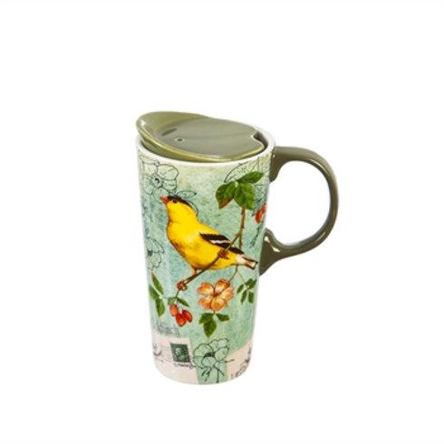 Ceramic Travel Latte Mug Featuring an American Goldfinch
