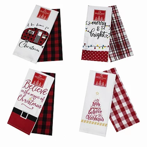 Set of 8 Hoiday Bistro Towels ..... 4 With Messages and 4 with check pat