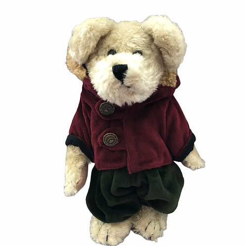Boyds Bear Plush ..... Aubrey wearing a green romper & a burgandy jacket