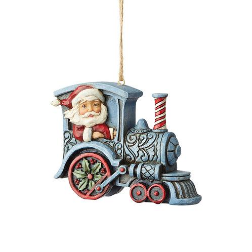Santa in Train Engine Ornament