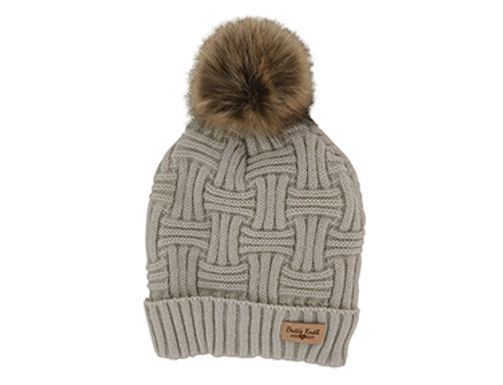 Beige Lined Knit Hat with Pom