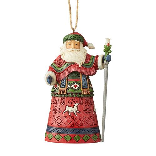Lapland Santa With Staff Ornament