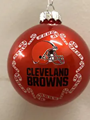 Browns Candy Cane Ball Ornament