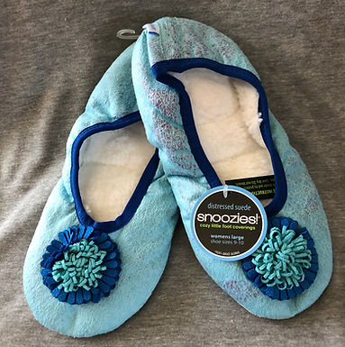 Snoozies Size Women's Large - Flower Toe Cornflower Blue    DS-012B