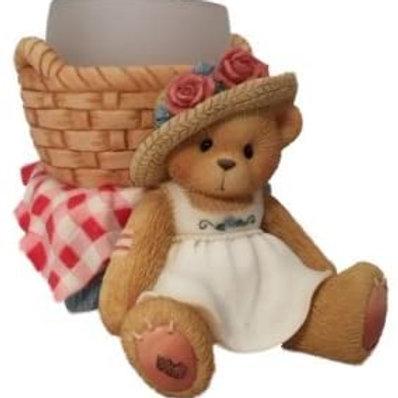 Girl Sitting Against A Basket ..... Votive Candleholder