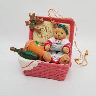 Cherished Teddies Bear In Picnic Basket Ornament