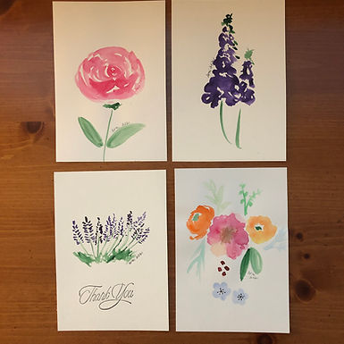 Set of 4 Watercolor Art with Envelopes