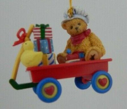 Cherished Teddies Bear  Sitting In A Red Wagon With A Train & Presants Ornament