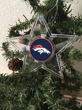 Broncos Acylic Star - Cut Crystal Design Ornament