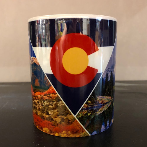 Colorful Colorado Mug - with mountain scenes & a triangle Colorado Flag