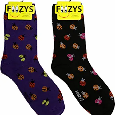 Foozys Womens Ladybug Socks ..... 2 pr (1 pair of each color)