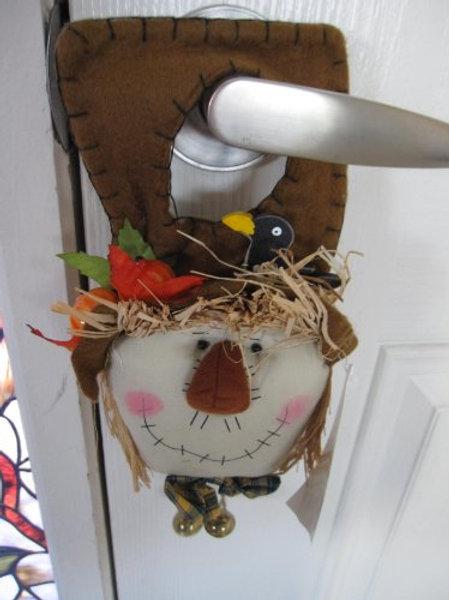 Scarecrow Door Knob Hanger with Brown Hat