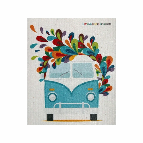 Front of Blue VW Bus ..... Swedish Dishcloth