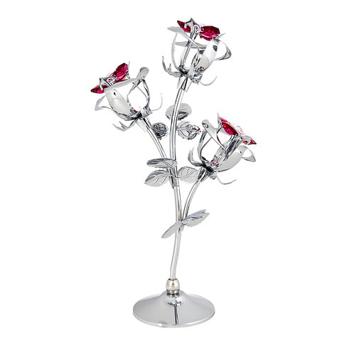 Chrome Plated Triple Rose Bud with Red and Pink Crystals