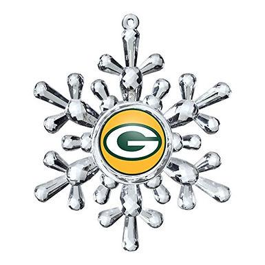Packers Acylic Snowflake - Cut Crystal Design Ornament