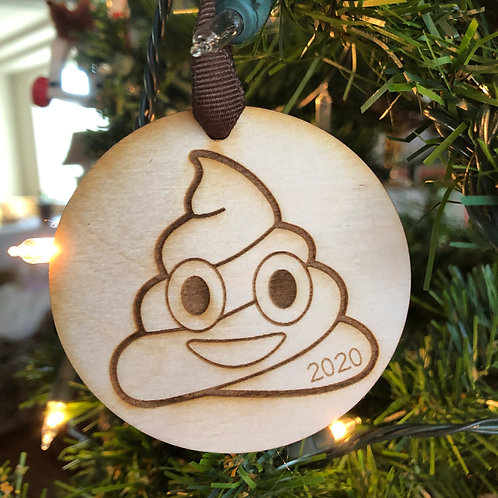 Dated 2020 Poop Emoji Ornament
